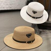 Web celebridad mismo estilo sombrero de paja plana plana para las mujeres primavera y verano sombrilla sombrero tapa británica moda protector solar espectáculo cara pequeño cinturón de cuero sombreros