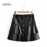 Wixra Bayan PU Etekler Yüksek Bel Ruffles Mini Faux Deri A-Line Giyim Streetwear Bayanlar Yaz Autumn1