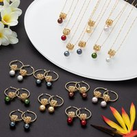 Earrings & Necklace Cring Coco Pink Color Pearl Trendy Jewelry Sets Hawaiian Polynesian Frangipani Pendant Necklaces Hoop Set For Women