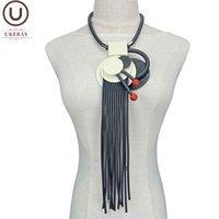Reino Unido Designer Handmade Luxo colar mulheres vintage jóias de borracha cadeia de madeira jóias mulher declaração mulher pingente colares