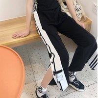 السراويل النسائية Capris سبليت مستقيم الساق عارضة رسالة مخطط واسعة الساق بانت الرياضة مريحة زر السراويل أربعة ألوان S-2XL الأزياء 2021