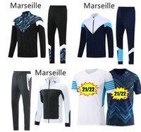 Olympique de Marsilya Futbol Forması 2021 2022 OM Maillot Ayak 21 22 Erkek Eşofman Kapüşonlu Futbol Ceket Thauvin Payet Benedetto Eğitim Eşofman Sportwear