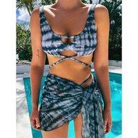 Zafuaz Sexy Micro Bikini Dessin Tye Teye Maillot de bain Femmes String Bikini Jupe Jupe Maillots de bain Femmes Trois pièces Ensemble de baignade 210604