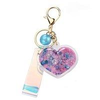 Flutuante líquido animal pinguim coração forma chaveiro glitter motchsand keyring carro bolsa de carro trinket pingente para as mulheres chave de presente fob