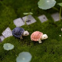 Милая мини черепаха модельная смола черепаха сад миниатюры DIY кукол дом / террариум / суккуленты / микроактивное украшение Q0811