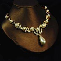 Позолоченное кремовое жемчужное капля жемчуга и горный хрусталь кристалл свадебное ожерелье и серьги свадебные ювелирные наборы 1048 Q2