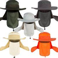Sombreros de ala nomo al aire libre Anti-UV Color Sólido Verano Sombrero de Pescador Moda Camuflaje Pesca Impermeable Casquillo