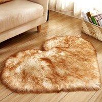 Carpets Solid Plush Rugs Love Heart Shaped Fluffy Imitation Wool Mat Anti Slip Shaggy Carpet Home Floor Decor