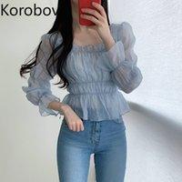 Korobov sexy quadrado colarinho blusa mulheres pulôver sopro de manga longa magro blusas coreana perspectiva chiffon camisas