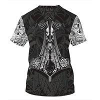 Men's T-Shirts 2021 Fashion Men Hoodies 3D Printed Viking Tattoo T Shirt Tees Shorts Sleeve Apparel Unisex Norse Cosplay Streetwear