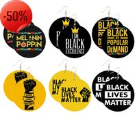 Initial Letter Black Lives Matter Earrings For Women Fashion Jewelry Fist Big Statement Circle Large Hoop Wooden