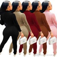 Autumn Winter Women Jumpsuits Designer Solid Color Long Sleeve Zipper Corduroy Pit Strip Onesies Sports Rompers Fashion Overalls Pants