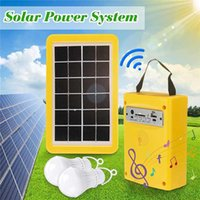 Solar Lamps Portable Generator Outdoor Power Mini 3W Panel Battery Charging LED Lighting System With 2 Light Blubs