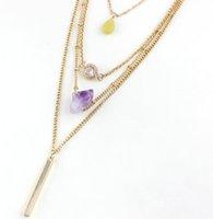 Requintado artesanal Ametista Zircon Cristal Pingente Colares Multilayer Druzy Pedra Natural Quartz Collar Colar