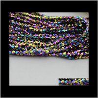 500pcslot bleu violet Sier plaqué or AB être faceted 5301 verre cristal lâche espaceur perles de bijoux bricolage fabrication 4 mm SJDAJ XY8GJ