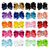 6 inch Girls Hair Rope Bows Baby Ponytail Holder Elastic Rubber Band Bow hairbands Children Grosgrain Ribbon Kids Hair Accessorie