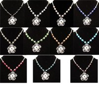 Chokers Fashion Crystal Beads Metal 12mm Snap Buttons Flower Pendant Choker Necklace Jewelry 12pcs lot Mix Colors