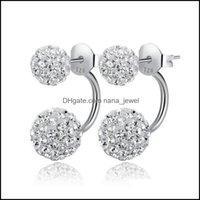 Stud Jewelryfashion 1Pair Lady Women Sier Double Beaded Crystal Fl Rhinestone Ball Ear Buckle Earrings Jewelry Drop Delivery 2021 Hgznc
