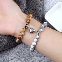 2Pcs Set Heart Magnet Pendant Bracelet Couples Lover Meaningful Natural Stone Bangles Jewelry 8MM Strench Pulsera Gift friendship