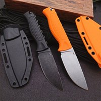15006 Survival Straight Knife CPM-S30V Black Stone Wash Drop Point Blade Full Tang Santoprene Handle Fixed Blades Knives With Kydex