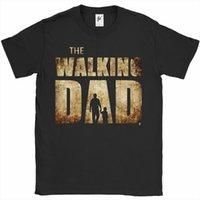 Os homens de paródia do pai andando camisetas pai filho pai dia o pescoço de manga curta tee para