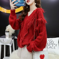 Autumn Winter V Neck Women Sweaters And Pullovers Korean Tassel Long Sleeve Sweater Loose Knitted Warm Jumper NS4684 Women's