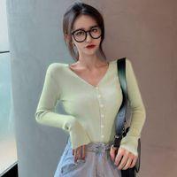 Contrast Color V-neck Long-sleeved Solid Color Sweater Slim Button Knit Cardigan LZ2991