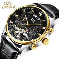Relojes mecánicos Tourbillon Cuero genuino Esqueleto Skeleton Reloj automático Hombres Calendario Perpetuo Horloges Mannen Relogios Relojes de pulsera