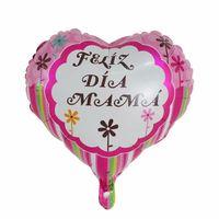 سعيد الأمهات اليوم بالونات 18 بوصة احباط شكل الحب الأمهات اليوم بالون الإنجليزية الإسبانية مايلر الهيليوم بالونات EEB6415