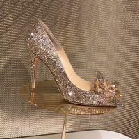 Dress Shoes Rose Gold Crystal Covered Pointy Toe Women Pumps Luxury Designer Rhinestone High Heels Wedding Cinderella Heel