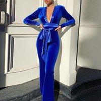 Women Long Velvet Jumpsuit With Sashes For Elegant Royal Blue Deep V-neck Rompers Autumn Winter Floor Length Romper
