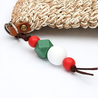 Colorful Octagon Wood Beads Geometry Wooden Ball Keychains For Women Handbag Hanging Keyring Summer Handmade Jewelry