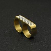 Bagues à double doigts pour hommes Bijoux de Hip Hop Hop Bijoux de haute qualité Glafe Steel Inox Steel Anneaux d'or