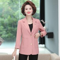 Korean Single Breasted Blazer Coat 2021 Spring Autumn Women Blazers Casual Purple Big Size XL-5XL Suit Jackets Aq719 Women's Suits &