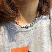 Diezi etnico 7 chakra perline imitazione perle girocollo per le donne dolce fiore pendente collana clavicola collana gioielli gioielli