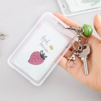 Card Holders Transparent Fruit Pattern Plastic Name Badge Holder Keychain Type Staff Work Cover Pass ID With Bell Random