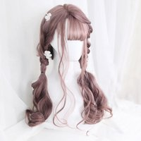 Long Wavy Brown Red Orange Wigs With Bangs Lolita Cosplay Pa...