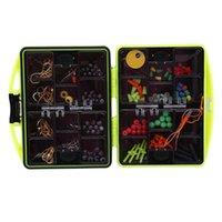 24pcs / 박스 낚시 액세서리 키트 지그 후크 싱커 무게 스위블 스윙 스냅 무늬 상자