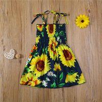 Kids Baby Girls Fashion Sunflower Print Dress Stylish Sleeveless Belt Princess For Children Summer Wear Girl's Dresses