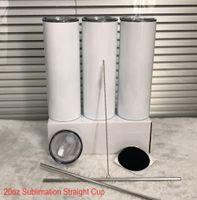 Straight !!! EUA Stock 20oz sublimação de tumblers retos com palha de aço inoxidável garrafas de água drinkware xícaras isoladas duplas canecas