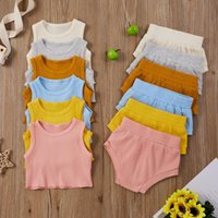 Clothing Sets Summer 2021 Baby Girls Boys Born Infant's Solid Color Ribbed Crew Neck Vest+Elastic Waistband Shorts Two Piece Set