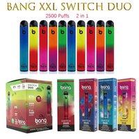 Bang XXL Switch Duo 2in1 2500 Puffsdisposable Cigarettes 7 мл 1100 мАч 6% Масляные стручки 8 цветов против Punnpod Air Geek Bar Max Poep Plus