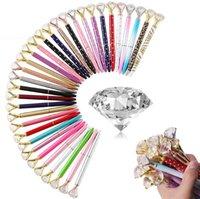 Fashion Creative Crystal Ballpoint Pen With Large Shinny Diamond Luxury Pens School Office Writing Supplies Graduation Present Christmas Gifts