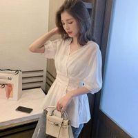 Missky feminino blusa verão sólido cor branco v-pescoço fino seção de manga camisa feminina tops novo