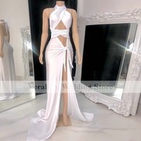 2021 Sexy White Evening Dress Mermaid Split Halter Neck Pageant Cocktail Event Prom Party Gowns