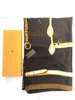 الكلاسيكية 100٪ الحرير البني وشاح للنساء الربيع تصميم سلسلة نمط الأوشحة الطويلة وشاح التفاف مع علامة شالات هدية