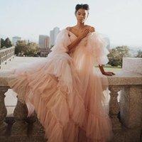 Fluffy Blush Pink A Line Prom Dresses Long Spaghetti Ruffle Evening Dress Lush 3 4 Sleeve Puffy New Design Formal Gowns robe de soiree longue
