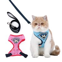 Dog Collars & Leashes Cat Collar Harness Pet Adjustable Vest Walking Lead Leash For Puppy Polyester Breathable Mesh Supplies