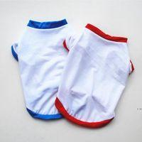 Sublimação Blanks Roupas de cachorro Branco Filhote de cachorro em branco Camiseta Cor Sólida Cães Pequenas Cachorro Camiseta Cão de Algodão Outwear Pet Fontes 2 Cores HWC7631