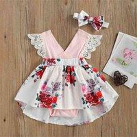 2021 Kız Prenses Elbise Çocuklar Dantel Kollu Tek Parça Elbise Çiçek Tatlı 2 3 4 5 6 Yaşında Bebek Giysileri Saç Kemer H49NBHM